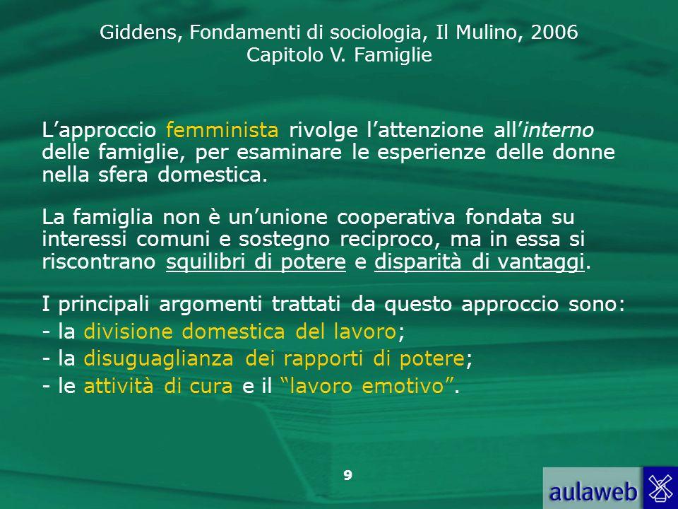 L'approccio femminista rivolge l'attenzione all'interno delle famiglie, per esaminare le esperienze delle donne nella sfera domestica.