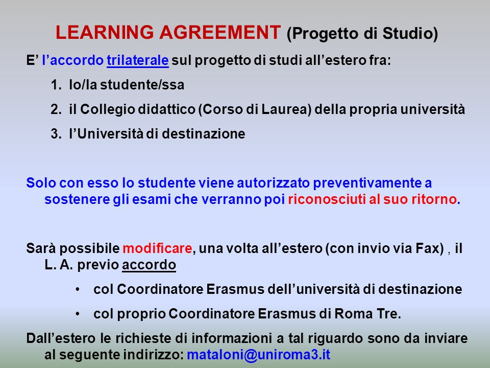 LEARNING AGREEMENT (Progetto di Studio)