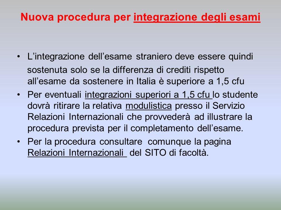 Nuova procedura per integrazione degli esami