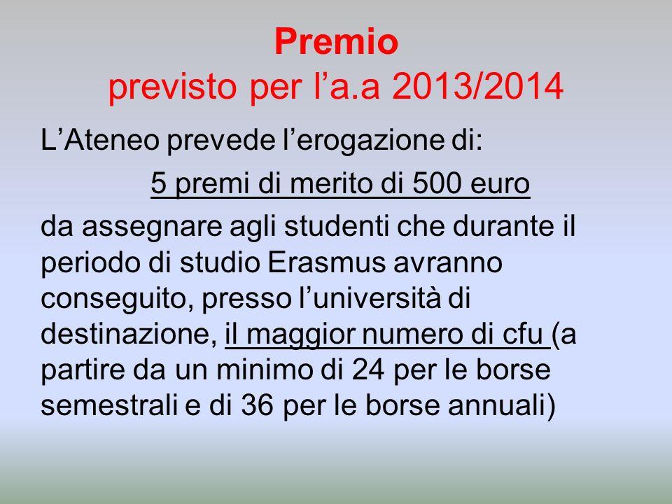 Premio previsto per l'a.a 2013/2014