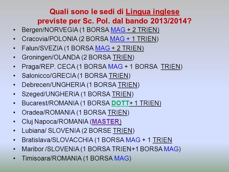 Quali sono le sedi di Lingua inglese previste per Sc. Pol