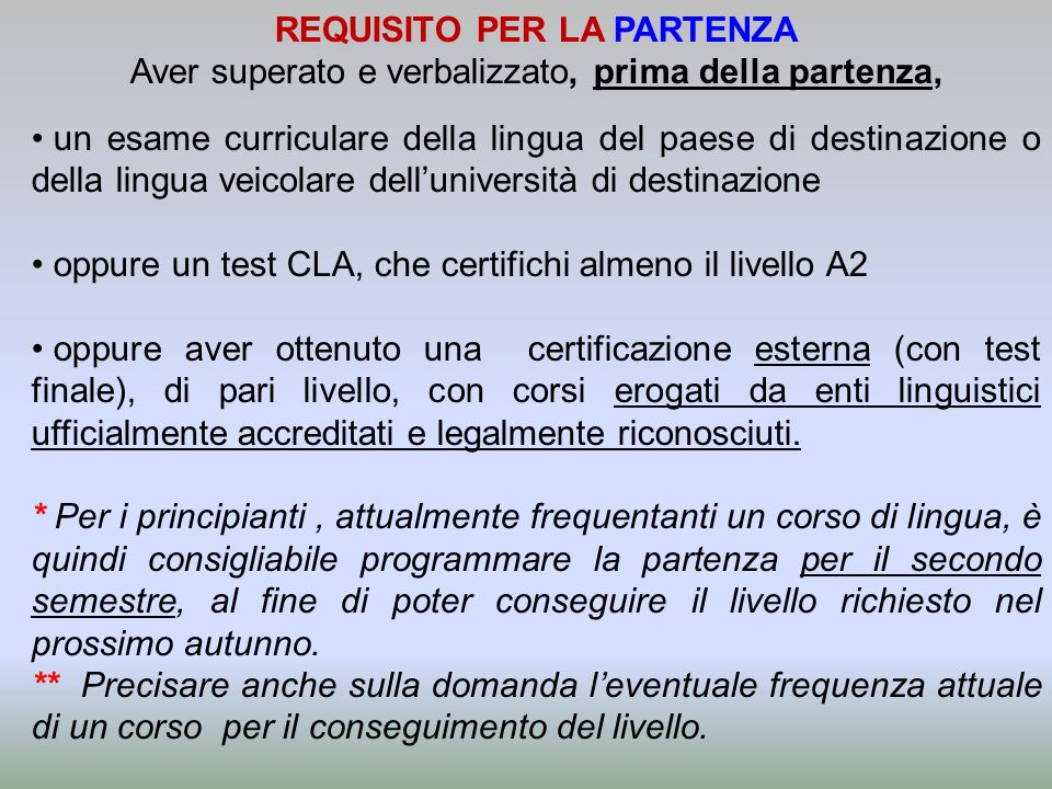 REQUISITO PER LA PARTENZA