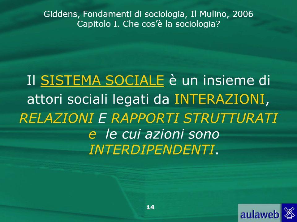 Il SISTEMA SOCIALE è un insieme di