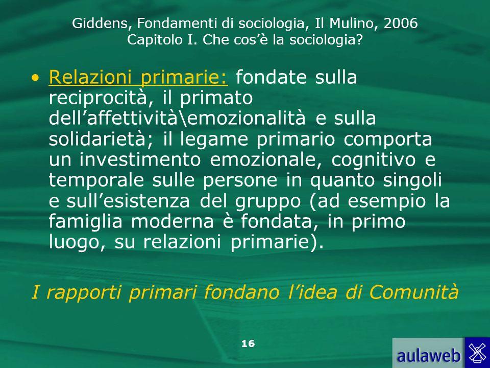I rapporti primari fondano l'idea di Comunità