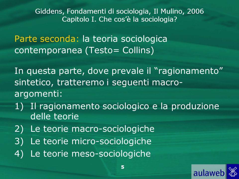 Parte seconda: la teoria sociologica