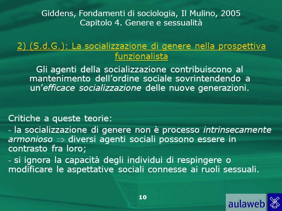 2) (S.d.G.): La socializzazione di genere nella prospettiva funzionalista