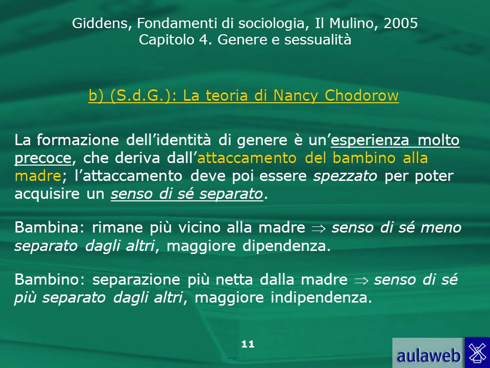 b) (S.d.G.): La teoria di Nancy Chodorow