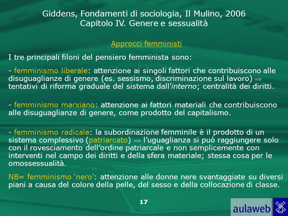 Approcci femministi I tre principali filoni del pensiero femminista sono: