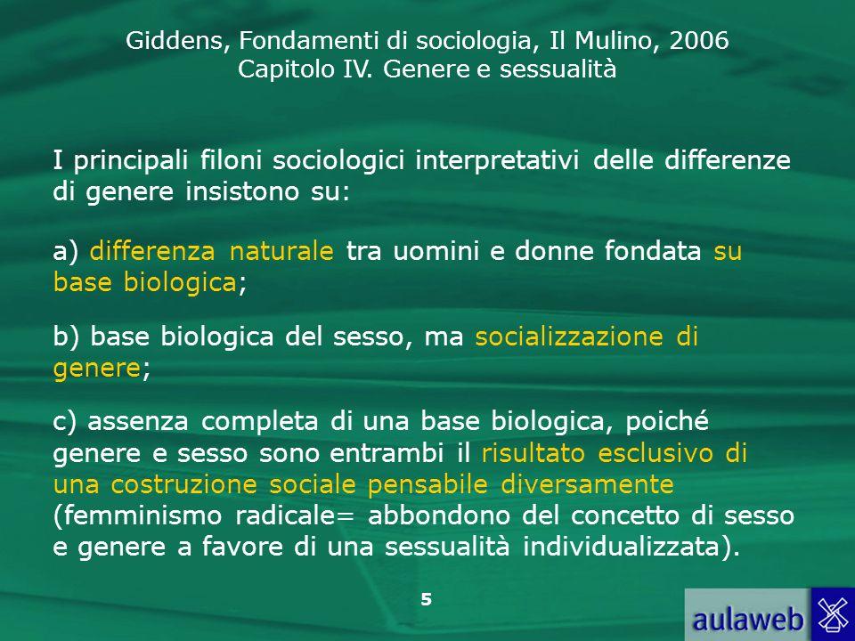 I principali filoni sociologici interpretativi delle differenze di genere insistono su: