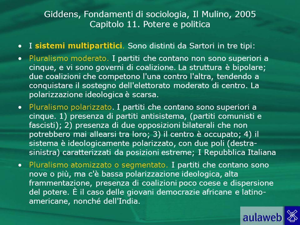 I sistemi multipartitici. Sono distinti da Sartori in tre tipi: