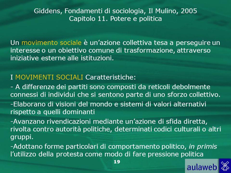 Un movimento sociale è un'azione collettiva tesa a perseguire un interesse o un obiettivo comune di trasformazione, attraverso iniziative esterne alle istituzioni.