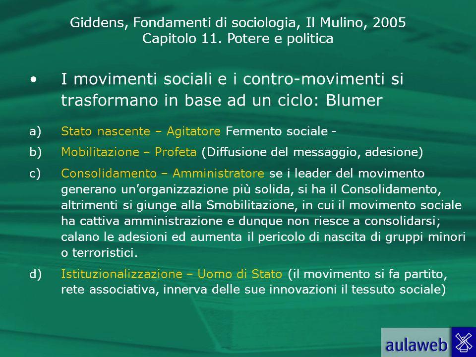 I movimenti sociali e i contro-movimenti si trasformano in base ad un ciclo: Blumer