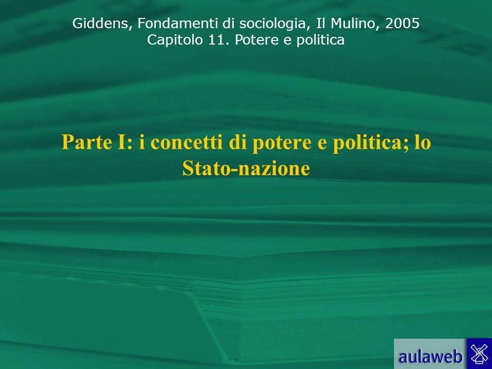 Parte I: i concetti di potere e politica; lo Stato-nazione