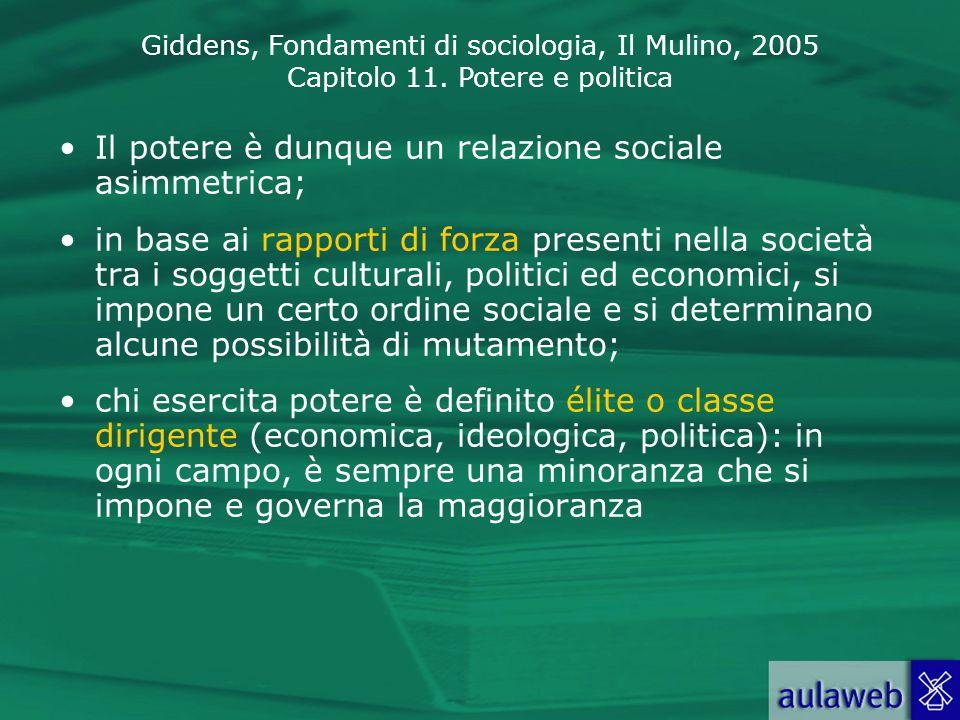 Il potere è dunque un relazione sociale asimmetrica;