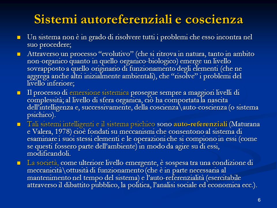 Sistemi autoreferenziali e coscienza