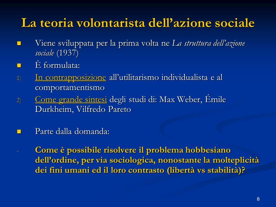 La teoria volontarista dell'azione sociale