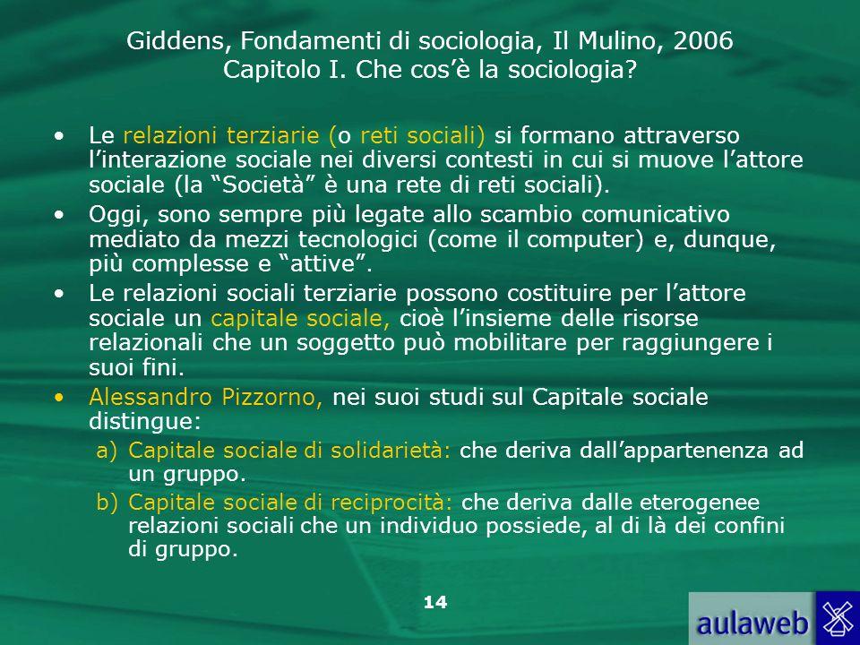 Alessandro Pizzorno, nei suoi studi sul Capitale sociale distingue: