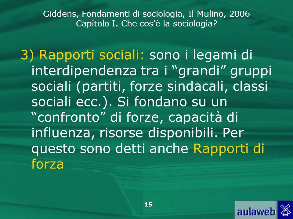 3) Rapporti sociali: sono i legami di interdipendenza tra i grandi gruppi sociali (partiti, forze sindacali, classi sociali ecc.).