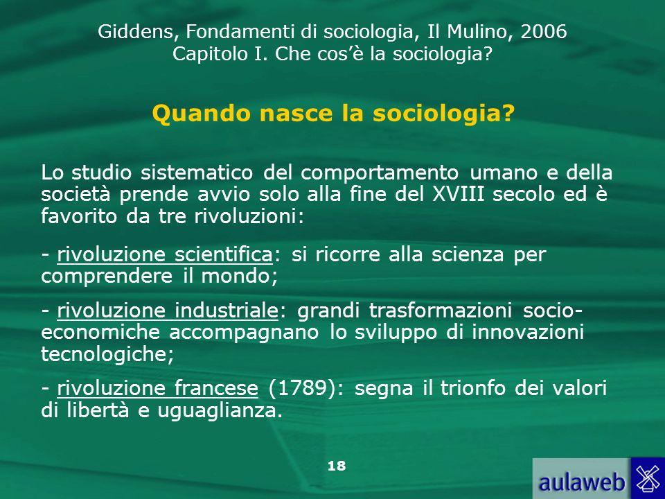 Quando nasce la sociologia