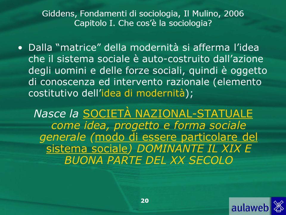 Dalla matrice della modernità si afferma l'idea che il sistema sociale è auto-costruito dall'azione degli uomini e delle forze sociali, quindi è oggetto di conoscenza ed intervento razionale (elemento costitutivo dell'idea di modernità);
