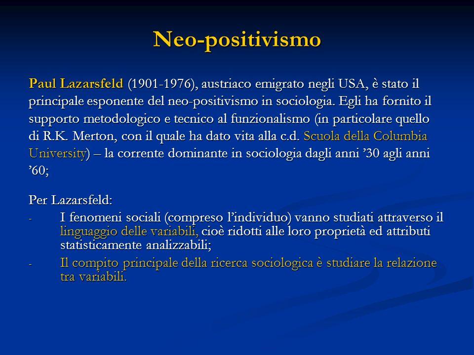 Neo-positivismo Paul Lazarsfeld (1901-1976), austriaco emigrato negli USA, è stato il.