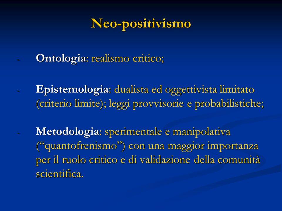 Neo-positivismo Ontologia: realismo critico;