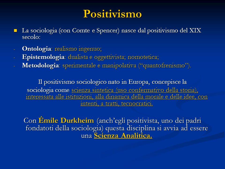 Il positivismo sociologico nato in Europa, concepisce la
