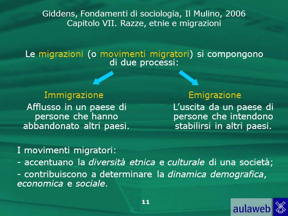 Le migrazioni (o movimenti migratori) si compongono di due processi: