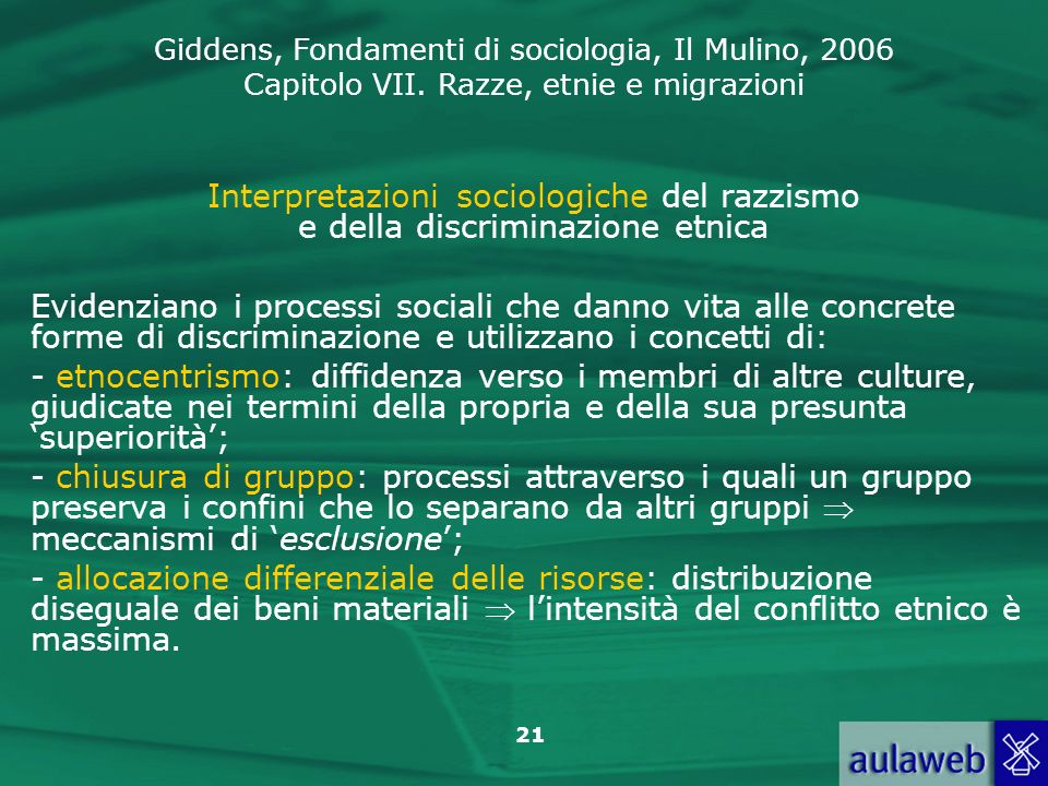 Interpretazioni sociologiche del razzismo e della discriminazione etnica