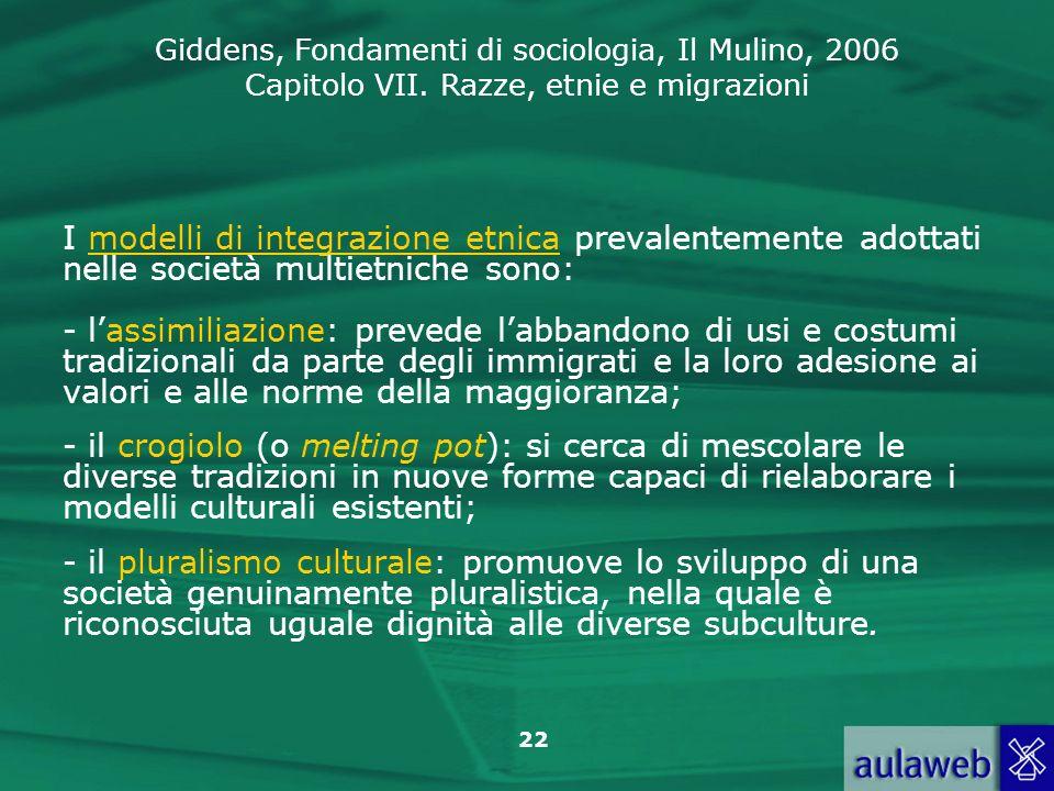I modelli di integrazione etnica prevalentemente adottati nelle società multietniche sono: