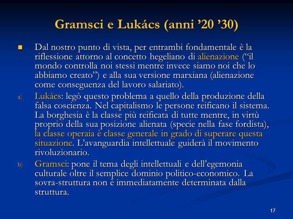 Gramsci e Lukács (anni '20 '30)