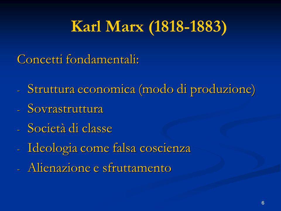 Karl Marx (1818-1883) Concetti fondamentali: