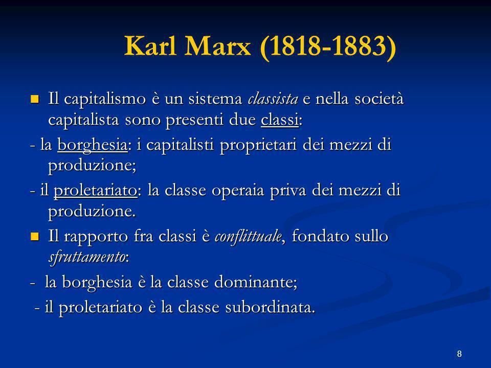 Karl Marx (1818-1883) Il capitalismo è un sistema classista e nella società capitalista sono presenti due classi: