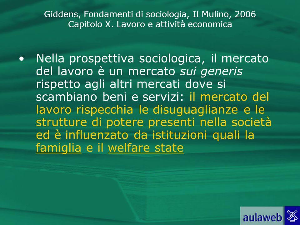 Nella prospettiva sociologica, il mercato del lavoro è un mercato sui generis rispetto agli altri mercati dove si scambiano beni e servizi: il mercato del lavoro rispecchia le disuguaglianze e le strutture di potere presenti nella società ed è influenzato da istituzioni quali la famiglia e il welfare state