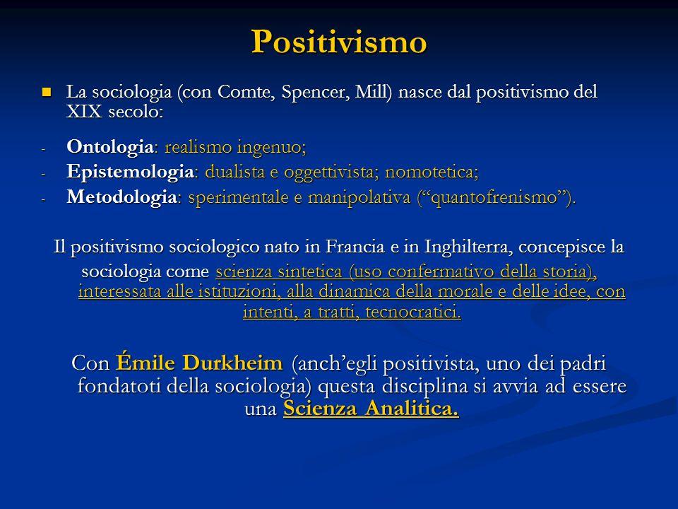 Positivismo La sociologia (con Comte, Spencer, Mill) nasce dal positivismo del XIX secolo: Ontologia: realismo ingenuo;