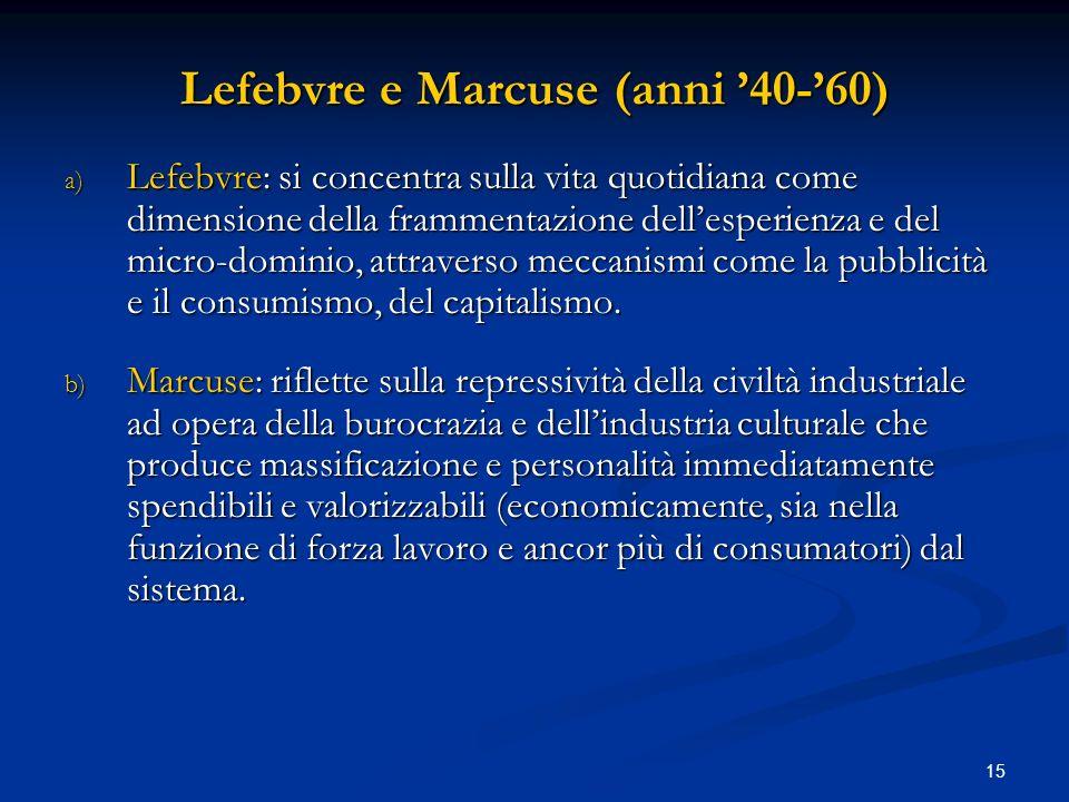 Lefebvre e Marcuse (anni '40-'60)