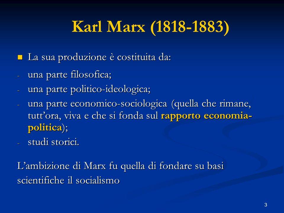 Karl Marx (1818-1883) La sua produzione è costituita da: