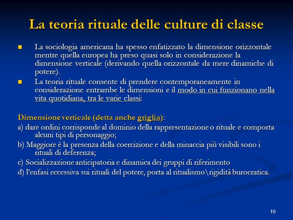 La teoria rituale delle culture di classe
