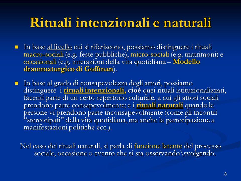 Rituali intenzionali e naturali