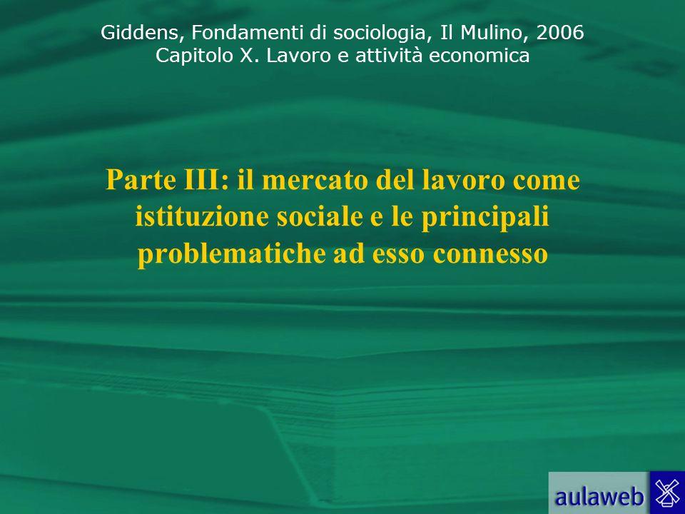 Parte III: il mercato del lavoro come istituzione sociale e le principali problematiche ad esso connesso