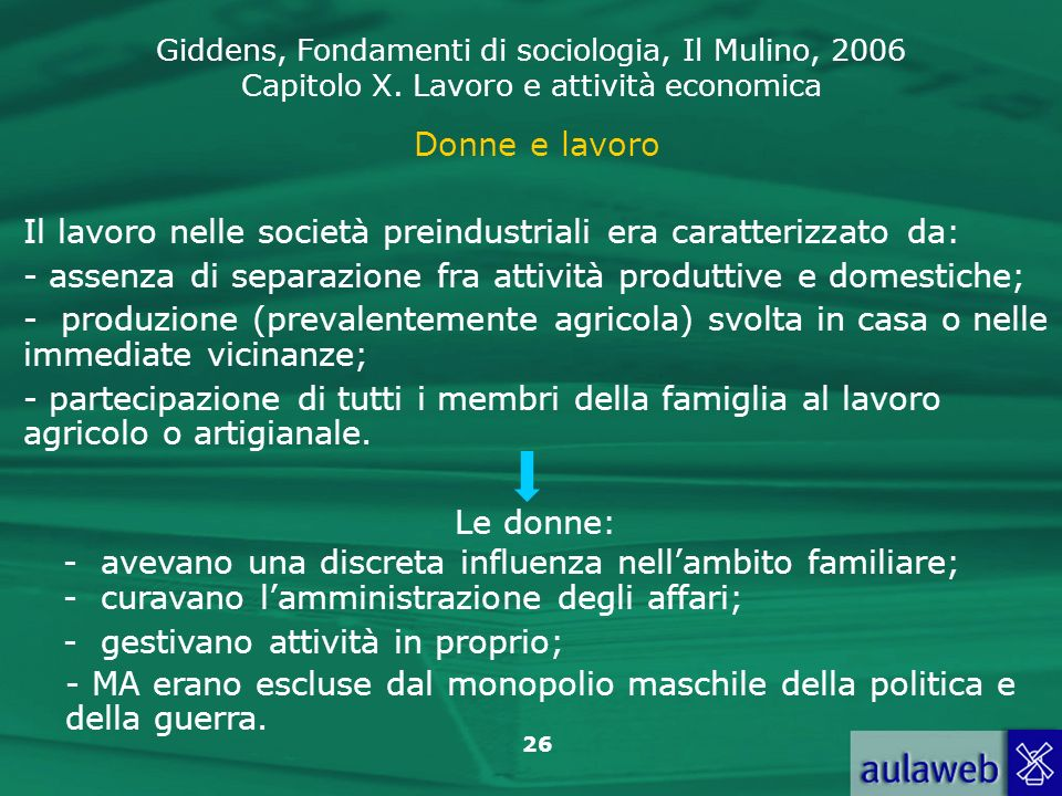 Donne e lavoro Il lavoro nelle società preindustriali era caratterizzato da: assenza di separazione fra attività produttive e domestiche;