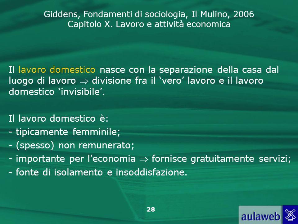 Il lavoro domestico nasce con la separazione della casa dal luogo di lavoro  divisione fra il 'vero' lavoro e il lavoro domestico 'invisibile'.