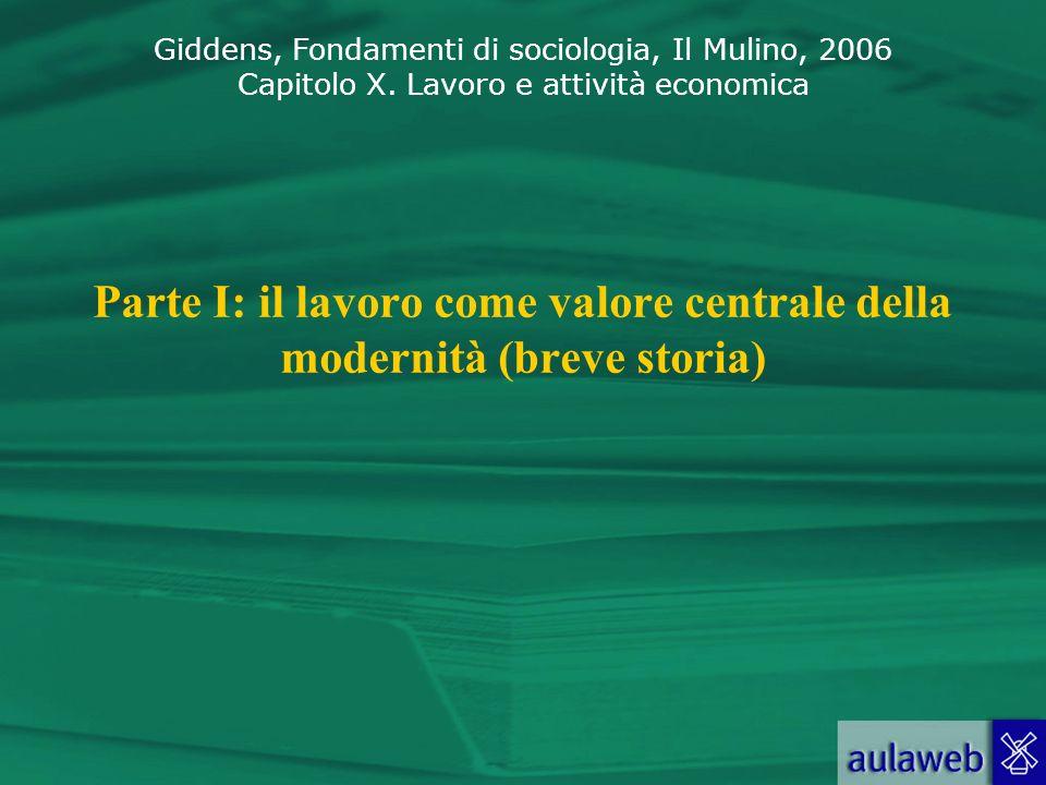 Parte I: il lavoro come valore centrale della modernità (breve storia)