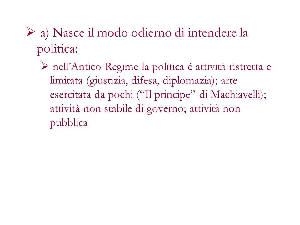 a) Nasce il modo odierno di intendere la politica: