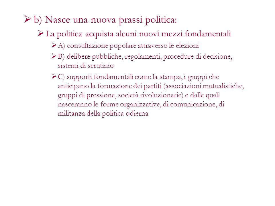 b) Nasce una nuova prassi politica: