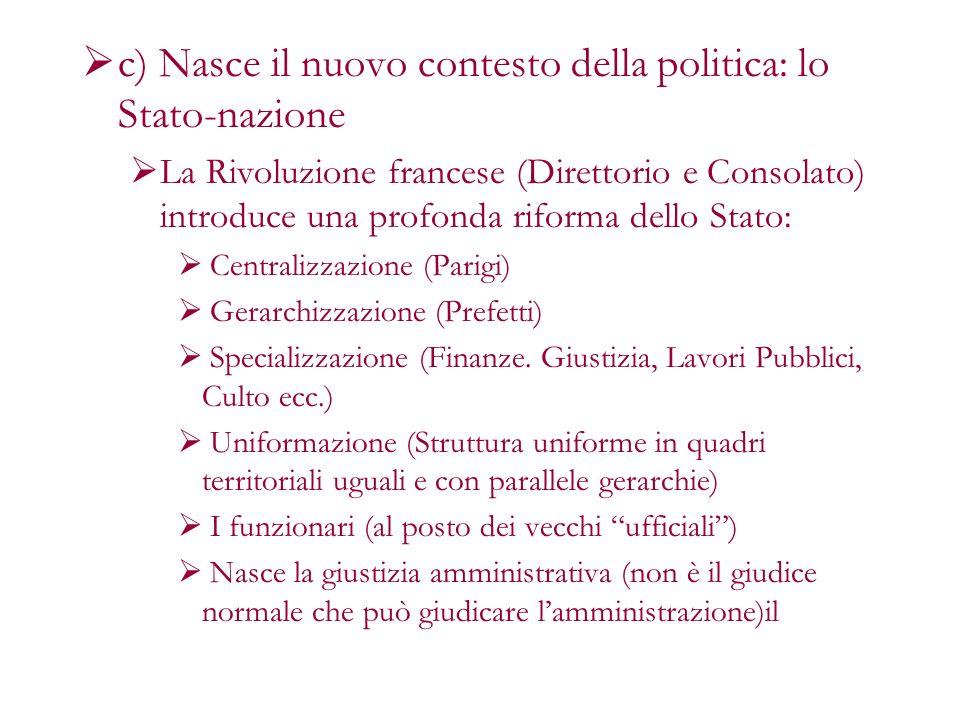 c) Nasce il nuovo contesto della politica: lo Stato-nazione