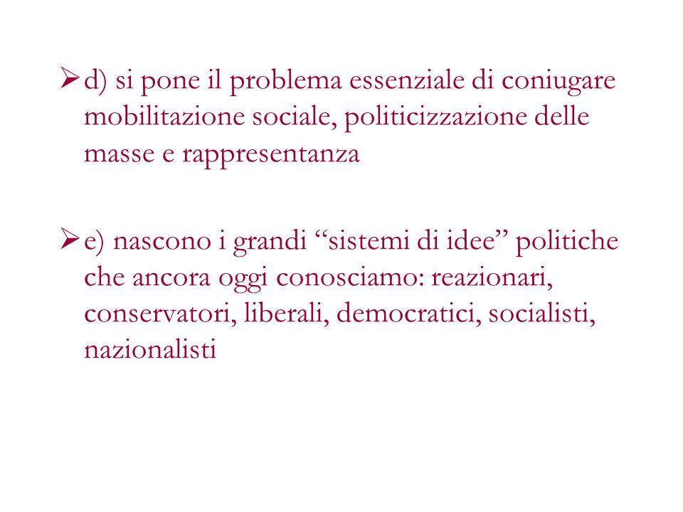 d) si pone il problema essenziale di coniugare mobilitazione sociale, politicizzazione delle masse e rappresentanza