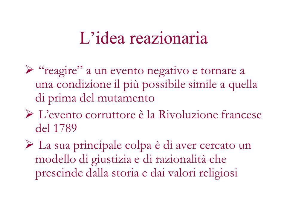 L'idea reazionaria reagire a un evento negativo e tornare a una condizione il più possibile simile a quella di prima del mutamento.