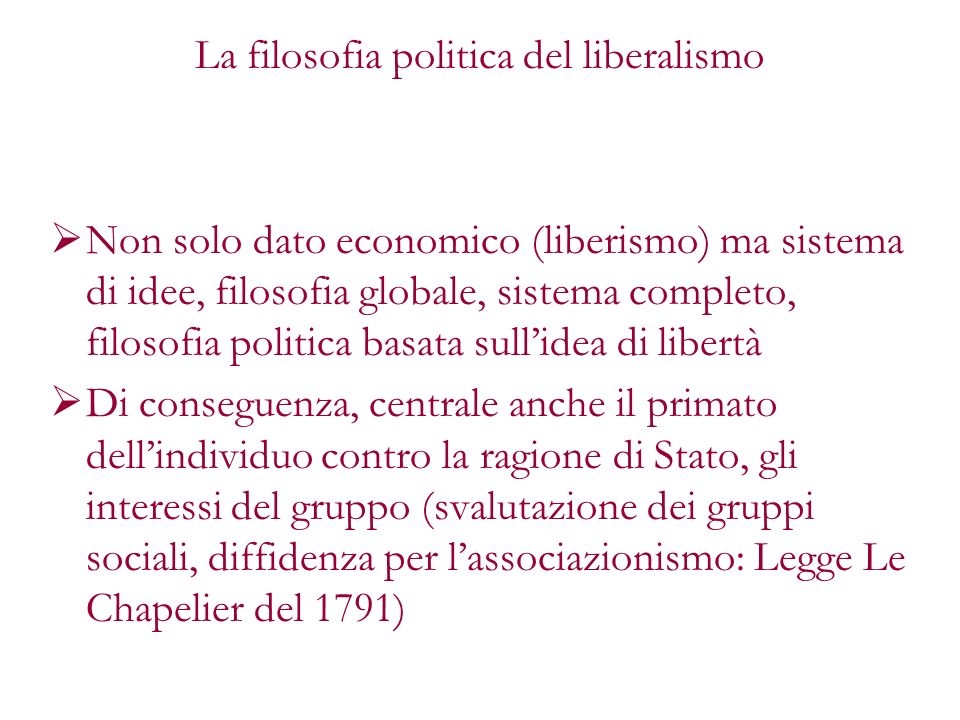 La filosofia politica del liberalismo