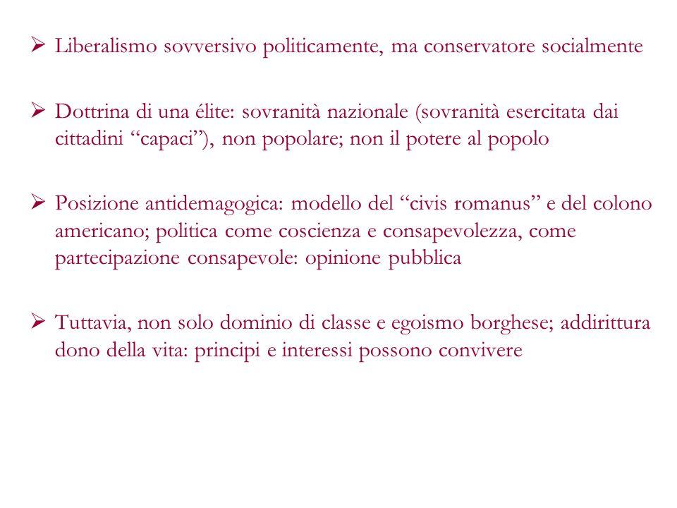 Liberalismo sovversivo politicamente, ma conservatore socialmente